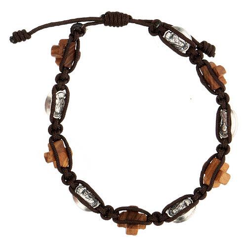 Bracelet olivier Medjugorje médaille corde marron 2