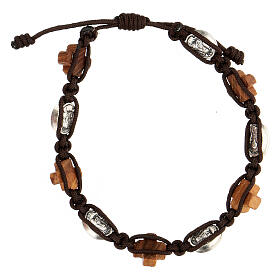 Bracciale ulivo Medjugorje medaglia corda marrone s2