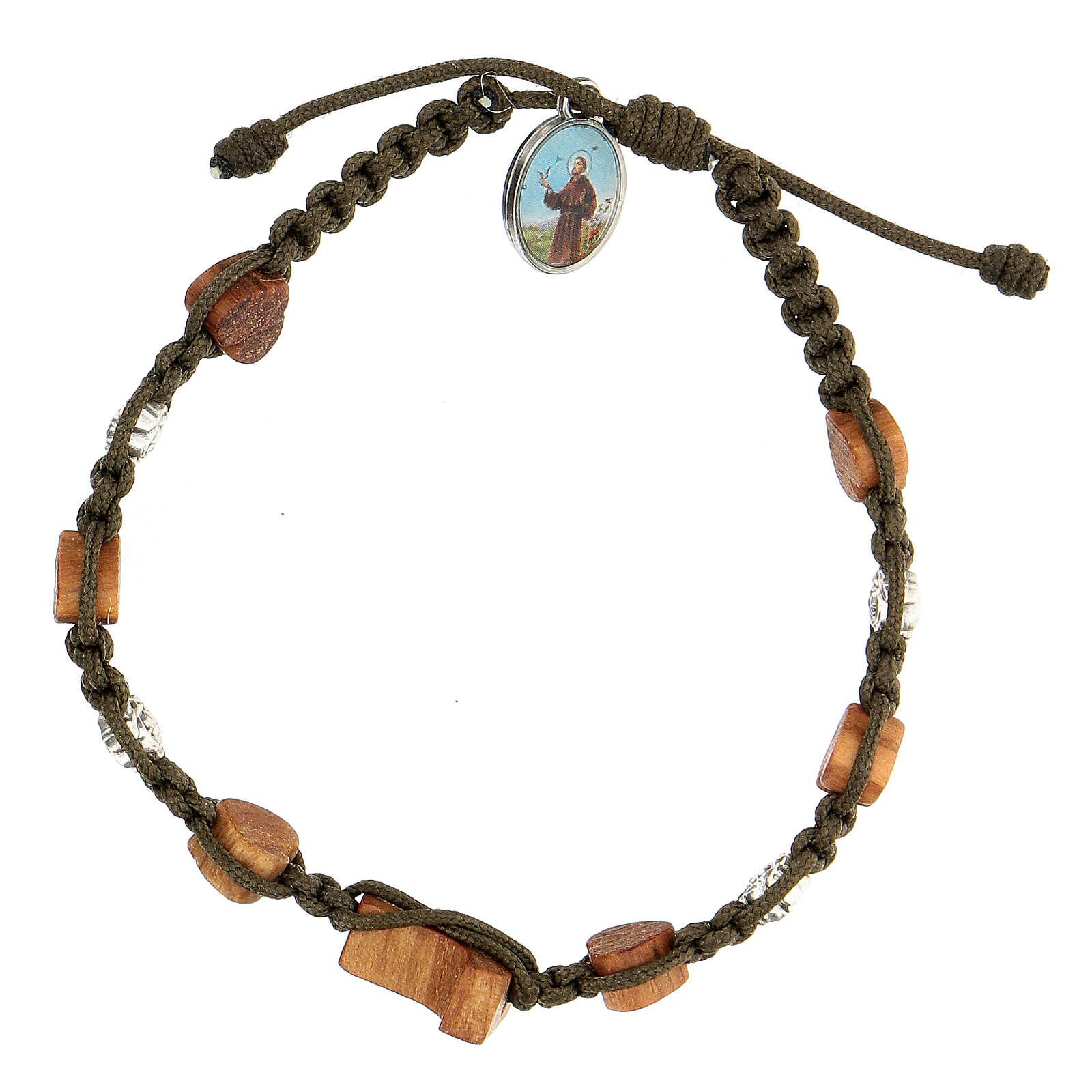 Bracelet tau coeurs olivier Medjugorje corde vert foncé 4