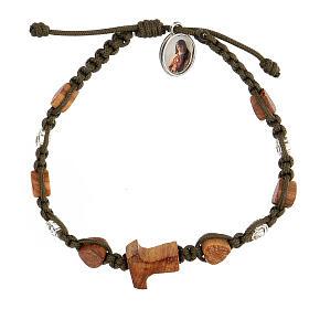 Bracelet tau coeurs olivier Medjugorje corde vert foncé s1