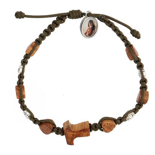 Bracelet tau coeurs olivier Medjugorje corde vert foncé 1