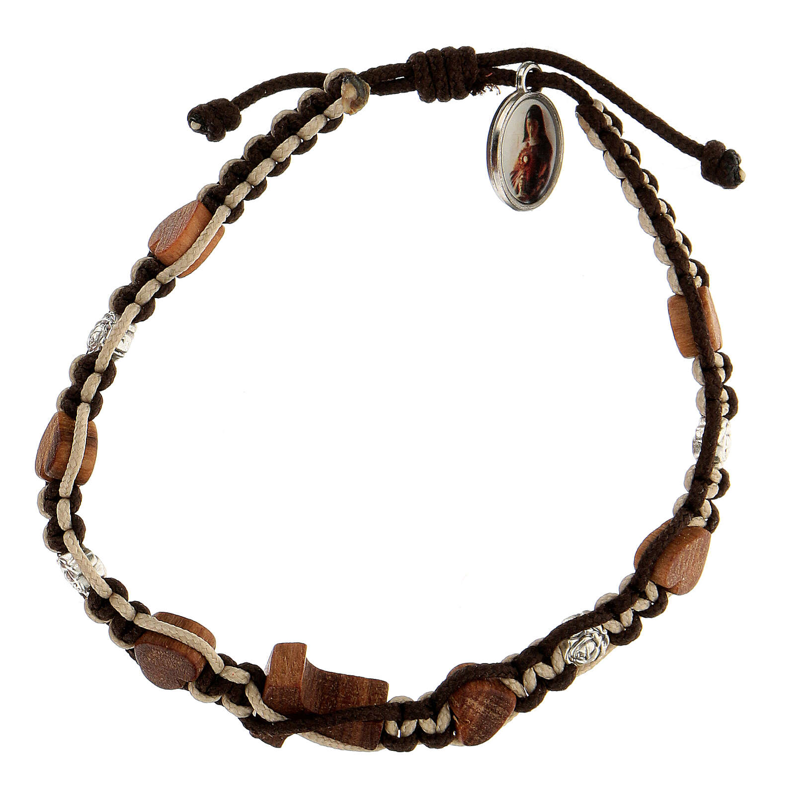 Bracelet Medjugorje hearts tau wood olive tree roses brown-beige rope 4