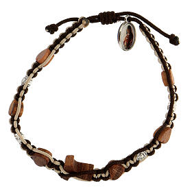 Bracelet Medjugorje hearts tau wood olive tree roses brown-beige rope s2