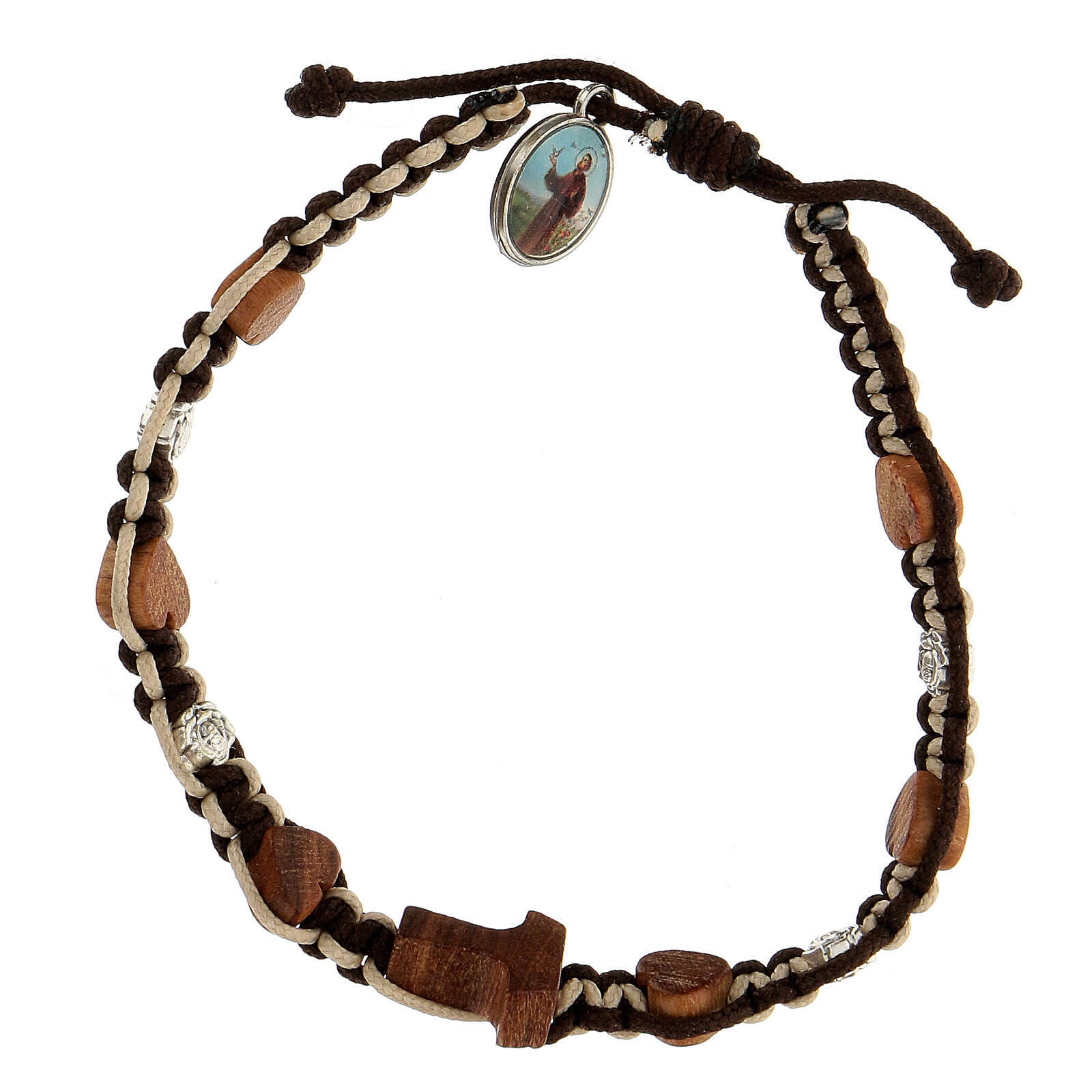 Pulsera Medjugorje corazones tau madera olivo rosas cuerda marrón-beis 4