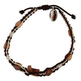 Bracelet Medjugorje coeurs tau bois olivier roses corde marron-beige s2
