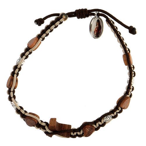 Bracelet Medjugorje coeurs tau bois olivier roses corde marron-beige 2