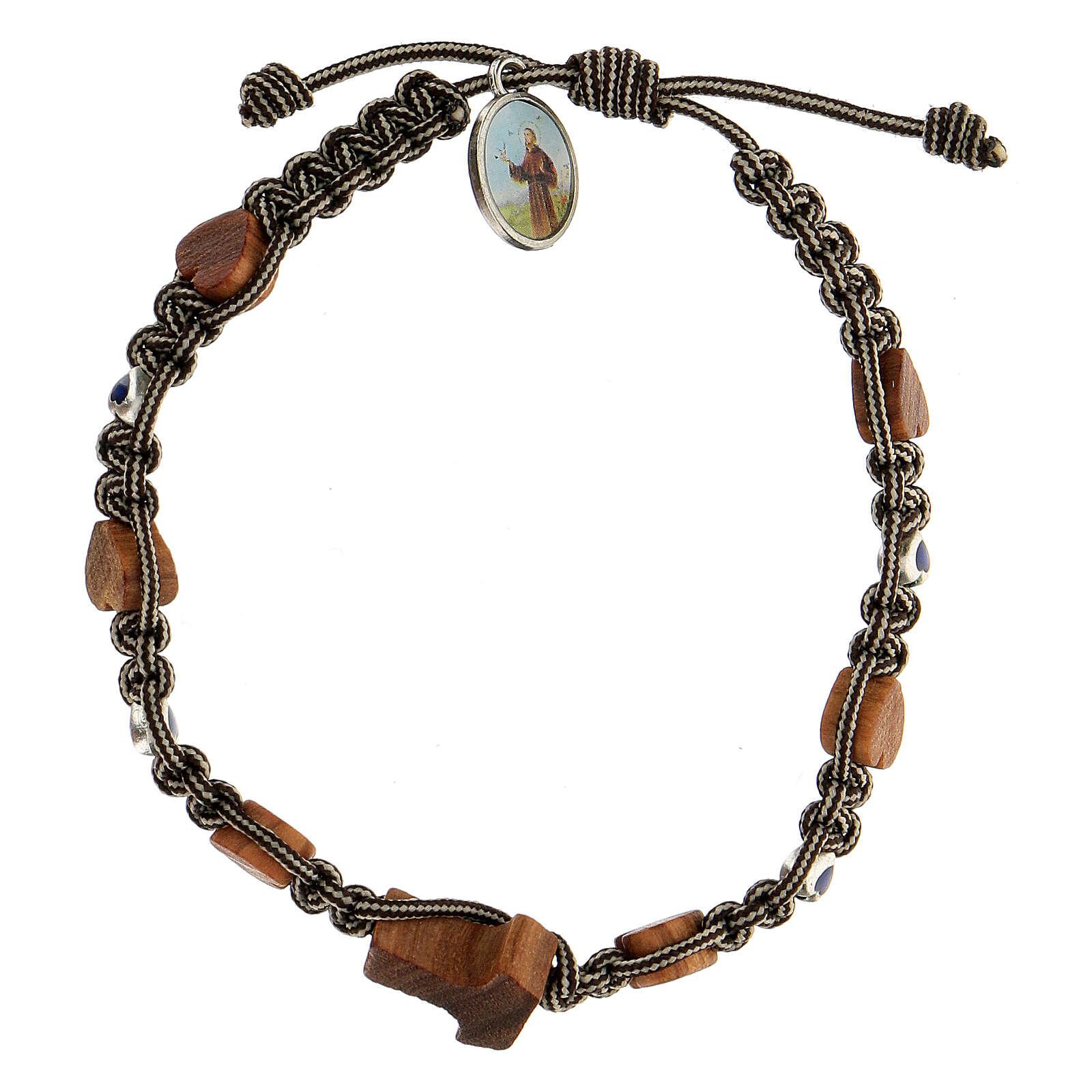 Bracelet Medjugorje tau coeurs corde bicolore blanc noir 4