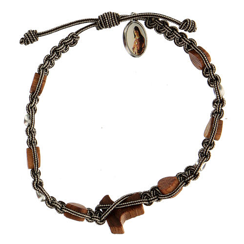 Bracelet Medjugorje tau coeurs corde bicolore blanc noir 2