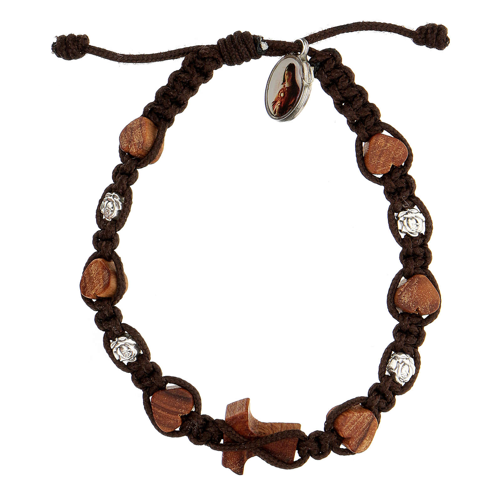 Bracelet Medjugorje tau coeurs roses corde marron 4