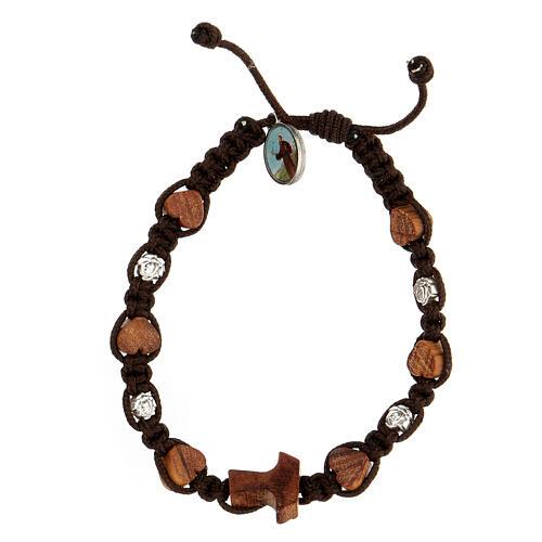 Bracelet Medjugorje tau coeurs roses corde marron 1