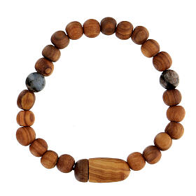 Medjugorje bracelet with wooden grains and two grains of assorted colours s4