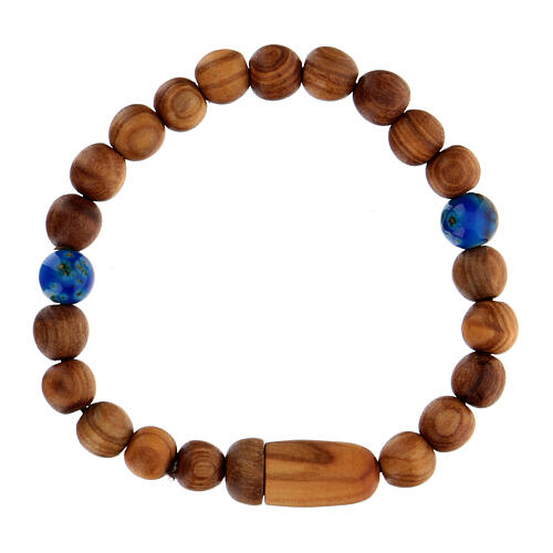 Medjugorje bracelet with wooden grains and two grains of assorted colours 1