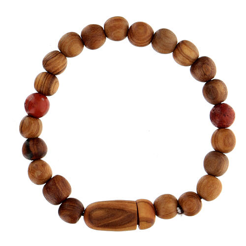 Medjugorje bracelet with wooden grains and two grains of assorted colours 2