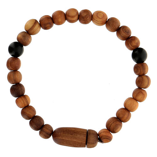 Medjugorje bracelet with wooden grains and two grains of assorted colours 3