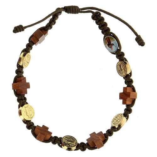 Bracelet Medjugorje médaille croix bois corde marron 1