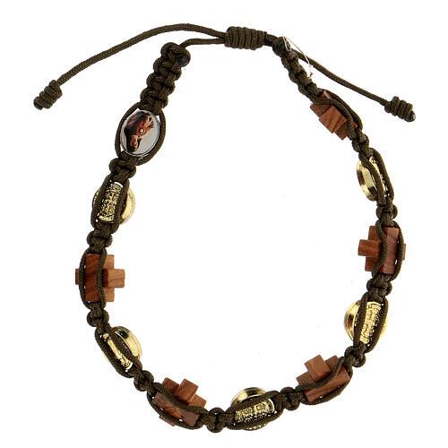 Bracelet Medjugorje médaille croix bois corde marron 2