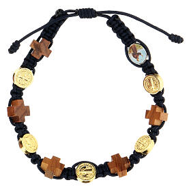 Bracelet Medjugorje croix bois olivier médailles corde bleue s1