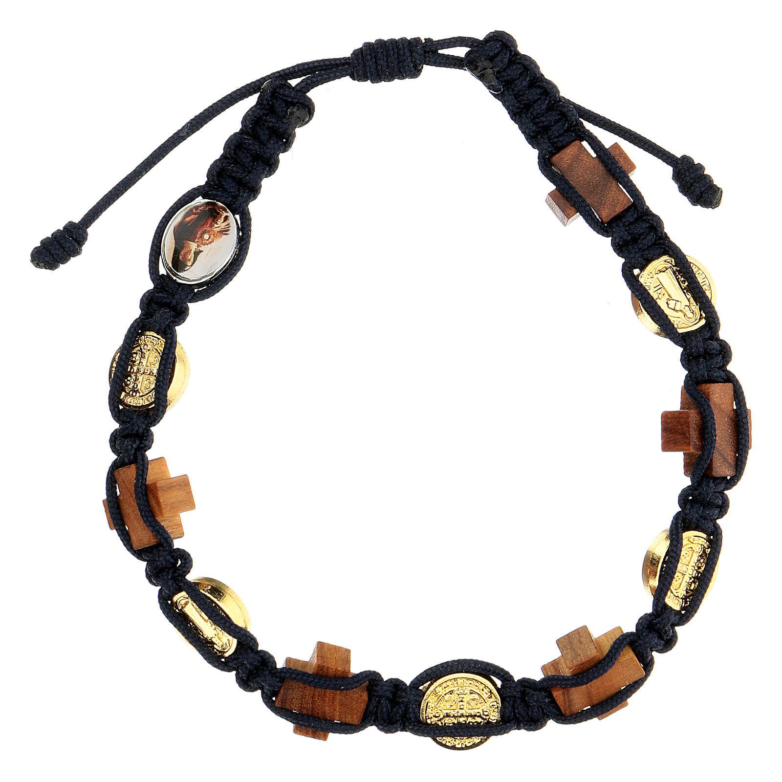 Bracciale Medjugorje croci legno ulivo medaglie corda blu 4