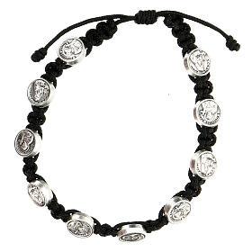 Medjugorje medals bracelet St. Francis St. Clare black rope s1