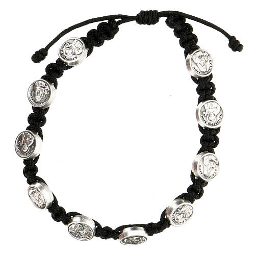 Medjugorje medals bracelet St. Francis St. Clare black rope 1