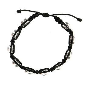 Bracelet Medjugorje médailles St François Ste Claire corde noire s2