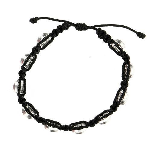 Bracelet Medjugorje médailles St François Ste Claire corde noire 2