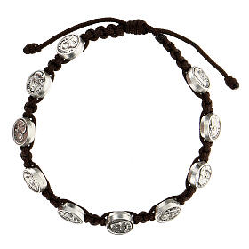 Medjugorje bracelet with brown string structure and metal medals  s1