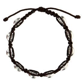 Pulsera Medjugorje medallas cuerda marrón s2