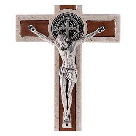 Croce Medjugorje marmo medaglia San Benedetto 14 cm