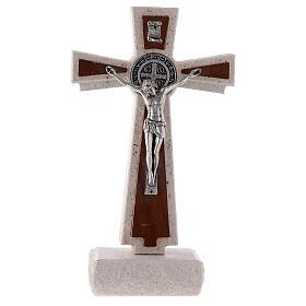 Cruz de Medjugorje medalha São Bento mármore 16 cm