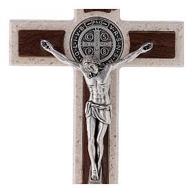 Cruz de mesa Medjugorje medalha São Bento mármore 16 cm