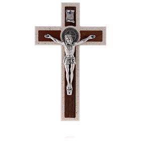 Croce Medjugorje medaglia San Benedetto con gancio 18 cm