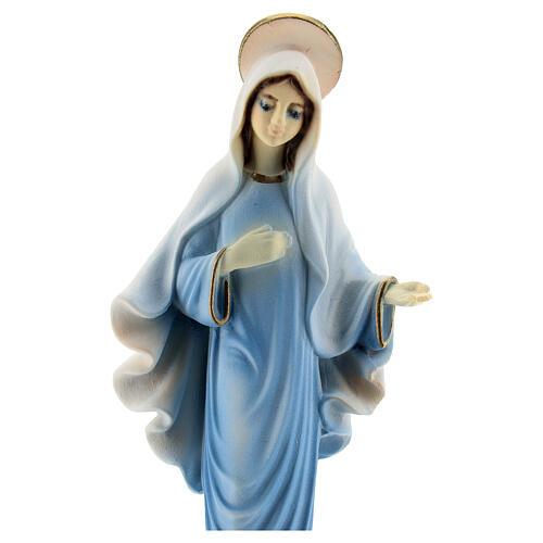 Virgen de Medjugorje polvo de mármol túnica azul 15 cm