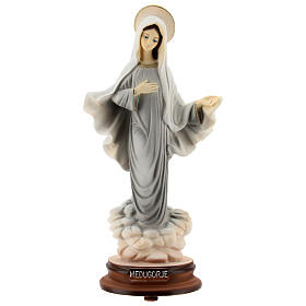 Lady of Medjugorje in reconstituted marble painted 20 cm s1