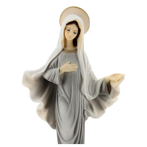 Lady of Medjugorje in reconstituted marble painted 20 cm