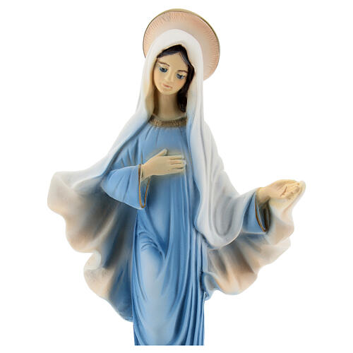 Our Lady of Medjugorje statue blue tunic reconstituted marble 20 cm