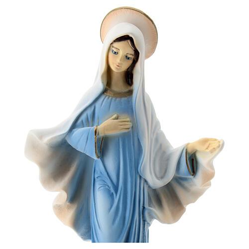 Virgen de Medjugorje azul iglesia San Jaime polvo mármol 20 cm