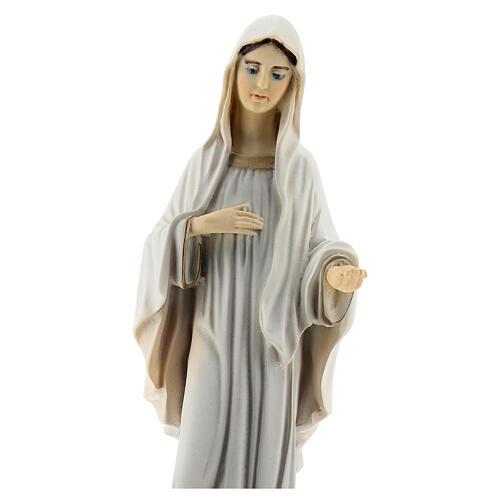 Virgen de Medjugorje polvo mármol iglesia San Santiago pintada 20 cm