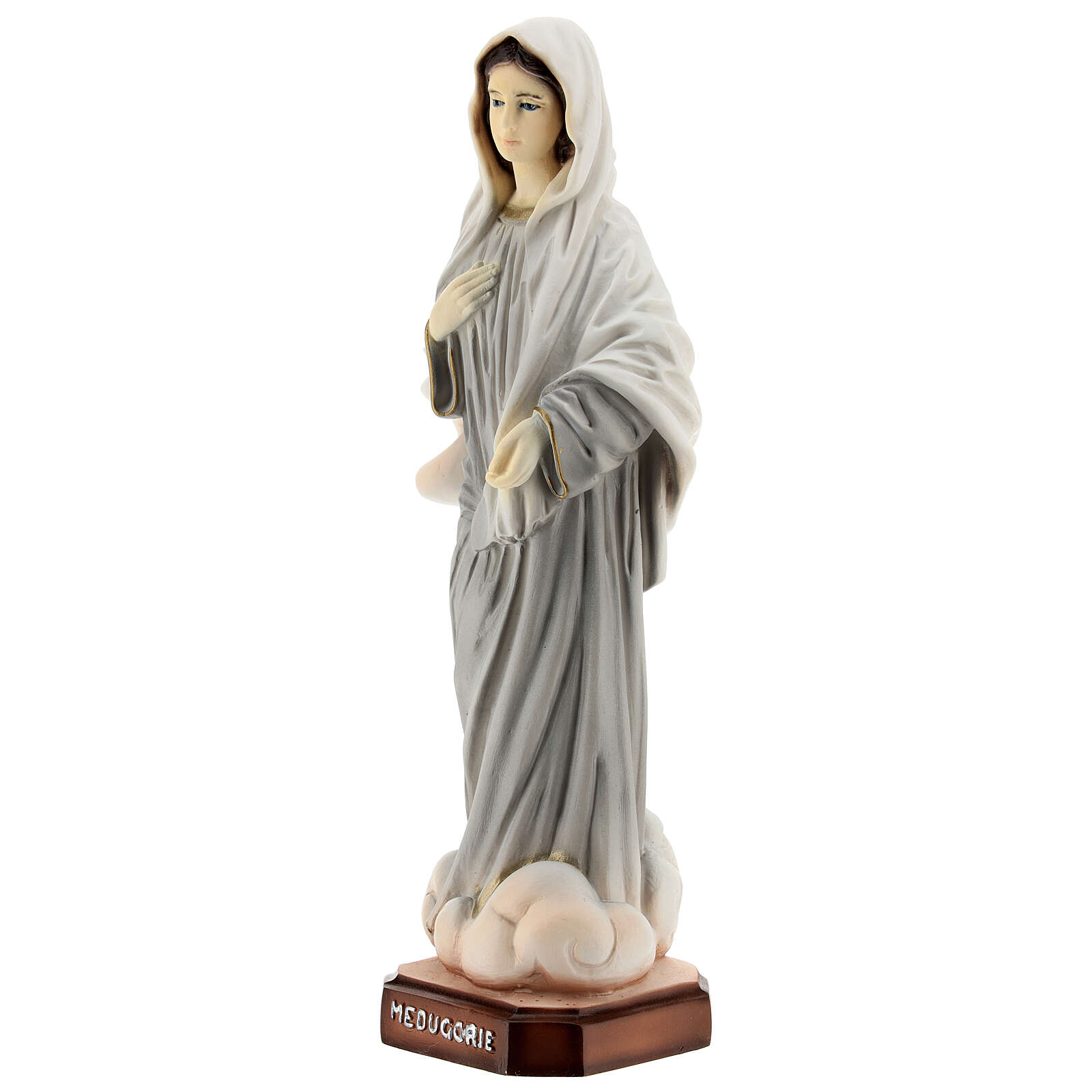 Lady of Medjugorje statue grey robes in reconstituted marble 20 cm 4