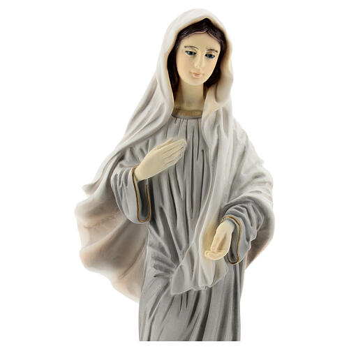 Lady of Medjugorje statue grey robes in reconstituted marble 20 cm