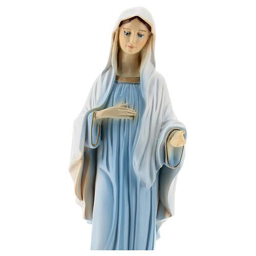Bemalte Madonna von Medjugorje aus Marmorstaub, 30 cm AUßEN