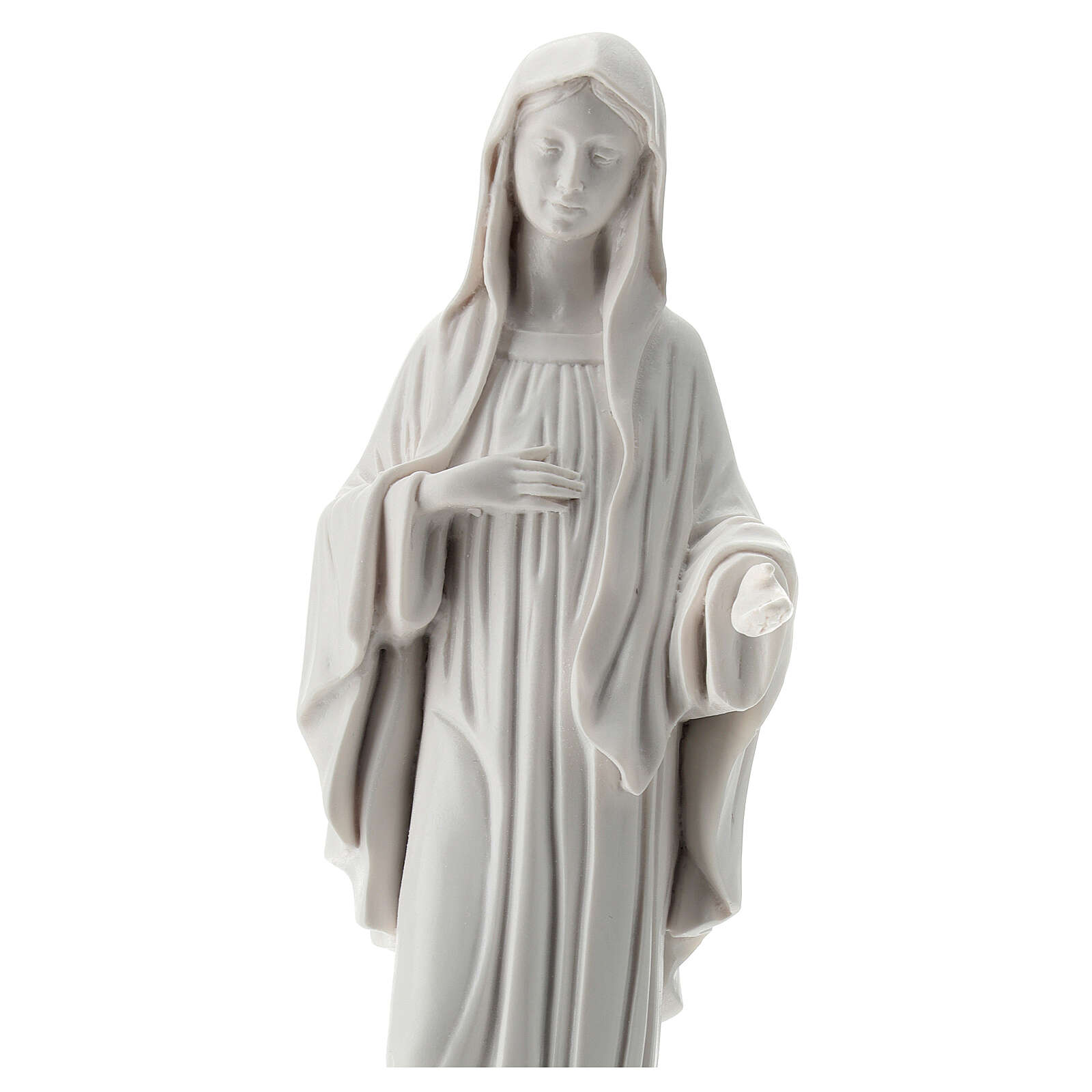 Our Lady Queen of Peace statue in white reconstituted marble 30 cm OUTDOORS 4