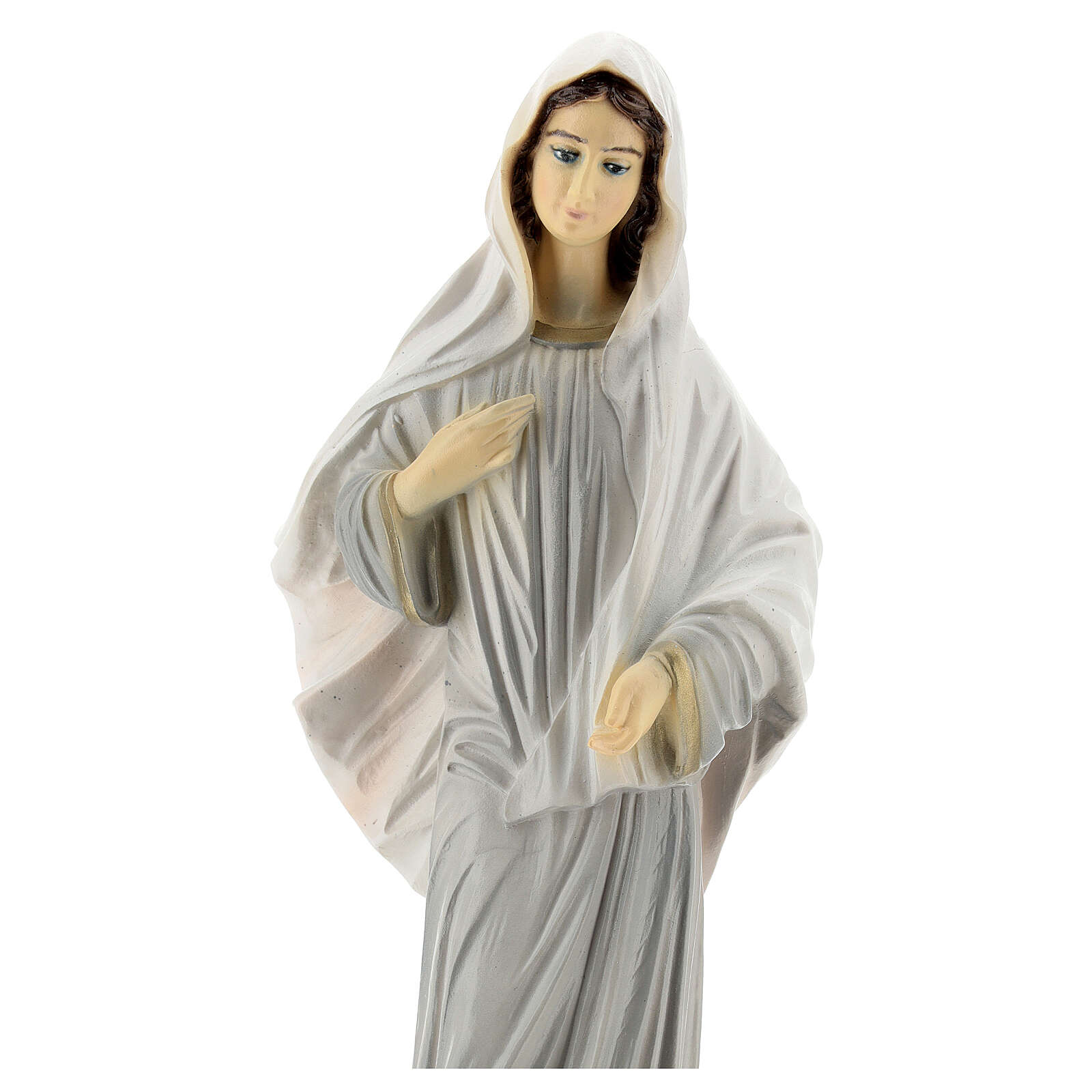 Our Lady of Medjugorje statue grey robes 30 cm in reconstituted marble OUTDOORS 4