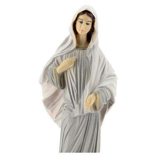 Our Lady of Medjugorje statue grey robes 30 cm in reconstituted marble OUTDOORS