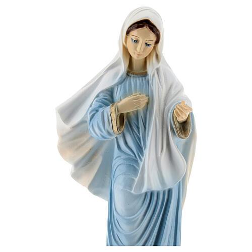 Virgen Medjugorje polvo de mármol 30 cm pintada EXTERIOR