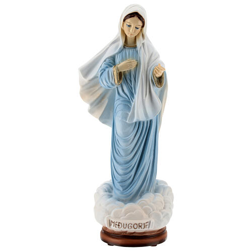 Our Lady of Medjugorje statue painted reconstituted marble 30 cm OUTDOORS