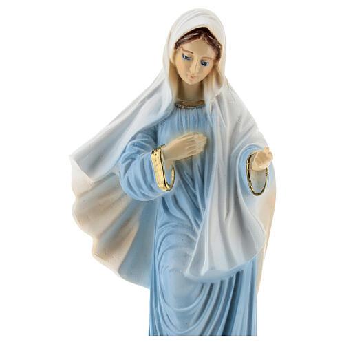 Virgen Medjugorje vestido azul polvo mármol 20 cm