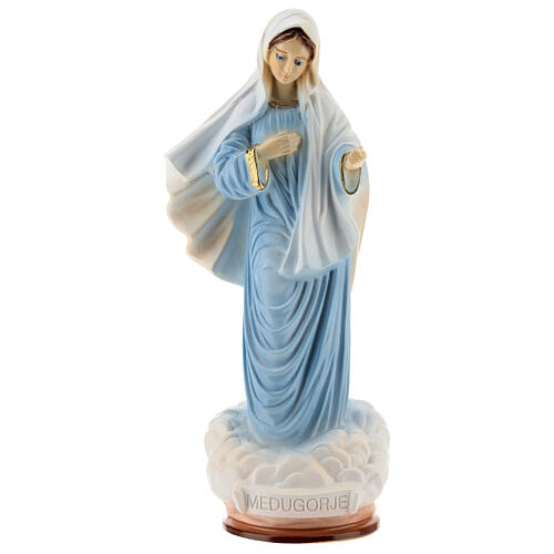 Lady of Medjugorje statue in blue tunic reconstituted marble 20 cm