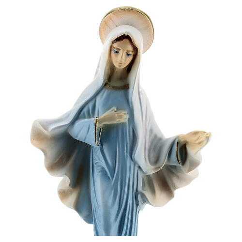 Blessed Mother Medjugorje state reconstituted marble blue robes 15 cm