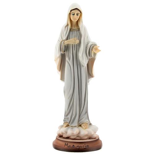 Virgen de Medjugorje 18 cm detalles dorados polvo de mármol